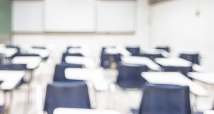 Blur classroom education background empty school class lecture room interior view with no teacher nor student